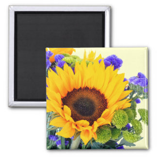 Sunflower and Blue Statice 2 Inch Square Magnet