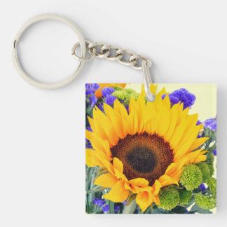 Sunflower and Blue Statice Keychain
