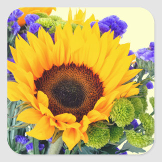 Sunflower and Blue Statice Stickers