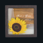 """Sunflower and Bridal Veil Country Wedding Keepsake Box<br><div class=""""desc"""">Carry your wedding bands down the aisle in the charming Sunflower and Bridal Veil Country Wedding Gift Box Personalize it to create a keepsake gift for the newlyweds or bridesmaids. This casual yet classy custom wedding gift box features a quaint floral photograph of a yellow sunflower blossom and a white...</div>"""