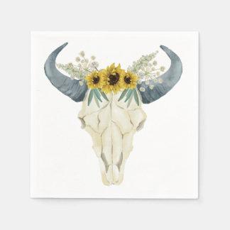 Sunflower and Bull Skull Napkins