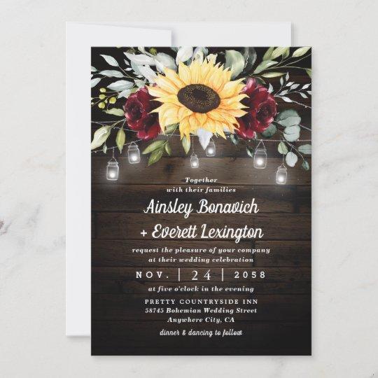 Rustic Fall Wedding Invitation,Pumpkin,Sunflower,Burgundy Rose,Fairy Lights,Parchment,Calligraphy,Personalize,Printed Invitation,Wedding Set