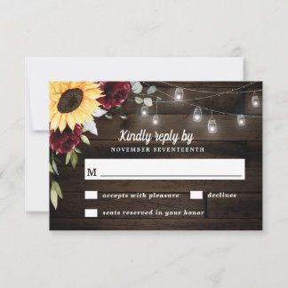 Sunflower and Burgundy Red Rose Rustic Wedding RSVP Card