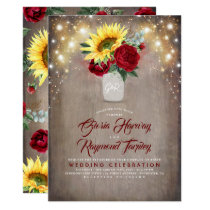Sunflower and Burgundy Rose Mason Jar Fall Wedding Invitation