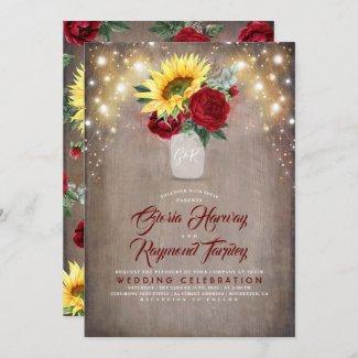 Sunflower and Burgundy Wedding Invitation, Rose in Mason Jar Fall