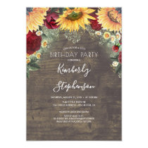 Sunflower and Burgundy Rose Rustic Birthday Invitation