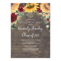 Sunflower and Burgundy Rose Rustic Graduation Invitation