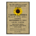 Sunflower and Burlap BBQ Wedding Reception Invitation