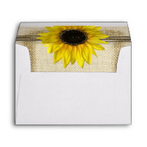 Sunflower and Burlap Envelope