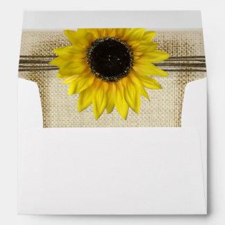 Sunflower and Burlap Envelope