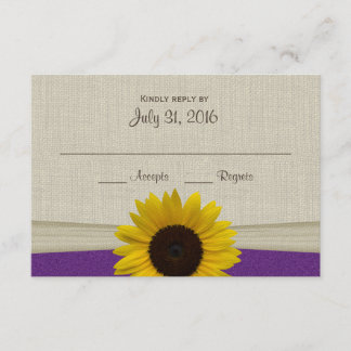 Sunflower and Burlap Purple Response Card