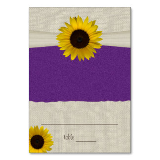 Sunflower and Burlap Purple Seating Card Table Card