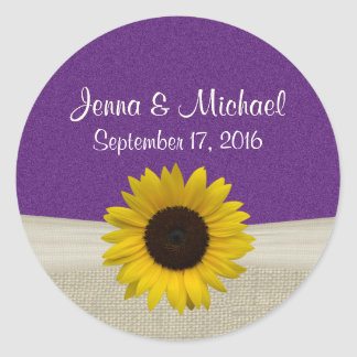 Sunflower and Burlap Purple Stickers