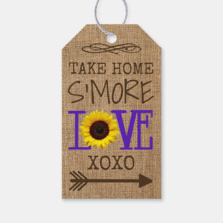 Sunflower and Burlap Purple Take Home S'More Love Gift Tags