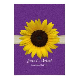 Sunflower and Burlap Purple Wedding Invitation