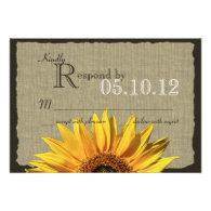 Sunflower and Burlap Response Custom Invitations
