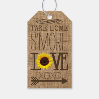 Sunflower and Burlap Take Home S'More Love Favor Gift Tags