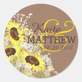 Sunflower and Burlap Wedding Label Classic Round Sticker
