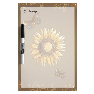 Sunflower and Butterflies Vintage Elegant Dry-Erase Board
