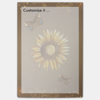 Sunflower and Butterflies Vintage Elegant Post-it® Notes