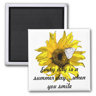 Sunflower and butterfly 2 inch square magnet