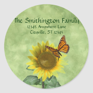 Sunflower and Butterfly Address Labels