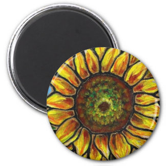 Sunflower and Butterfly Art--stained glass style! 2 Inch Round Magnet