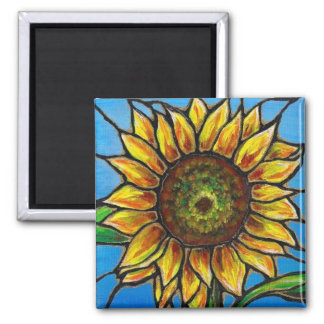 Sunflower and Butterfly Art--stained glass style! 2 Inch Square Magnet