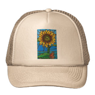 Sunflower and Butterfly Art--stained glass style! Trucker Hat