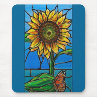 Sunflower and Butterfly Art--stained glass style! Mouse Pad