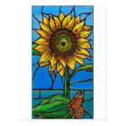 Sunflower and Butterfly Art--stained glass style! Postcard