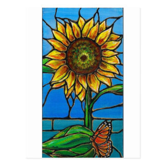 Sunflower and Butterfly Art--stained glass style! Postcards