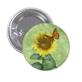 Sunflower and Butterfly 1 Inch Round Button