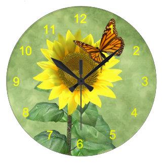 Sunflower and Butterfly Wallclocks