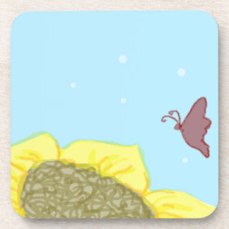 Sunflower and Butterfly Drink Coaster