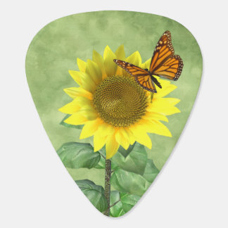 Sunflower and Butterfly Guitar Pick