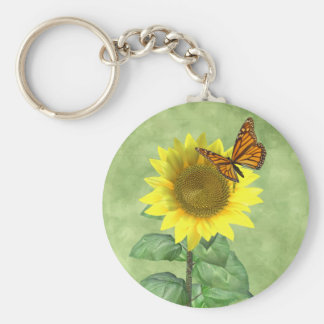 Sunflower and Butterfly Keychain