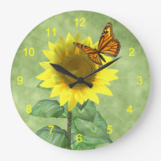 Sunflower And Butterfly Large Clock Zazzle Com