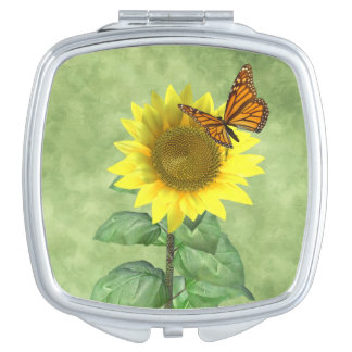 Sunflower and Butterfly Makeup Mirror