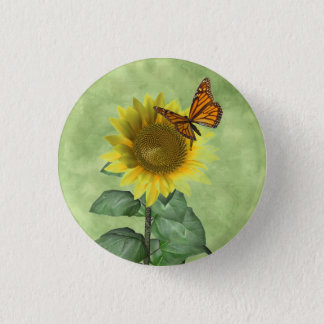 Sunflower and Butterfly Pinback Button