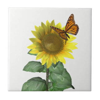 Sunflower and Butterfly Small Square Tile