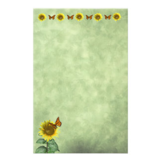 Sunflower and Butterfly Stationery Design