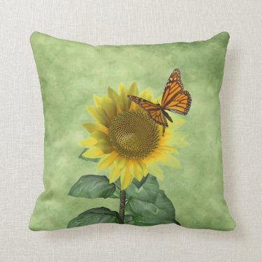 Sunflower and Butterfly Throw Pillows