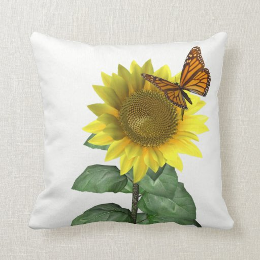 Decorative Pillows With Sunflowers : Sunflower and Butterfly Throw Pillows Zazzle
