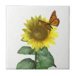 "Sunflower and Butterfly Tile<br><div class=""desc"">A butterfly visits a bright sunflower.</div>"
