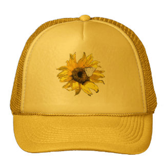 Sunflower and butterfly trucker hat