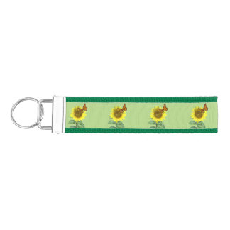 Sunflower and Butterfly Wrist Keychain