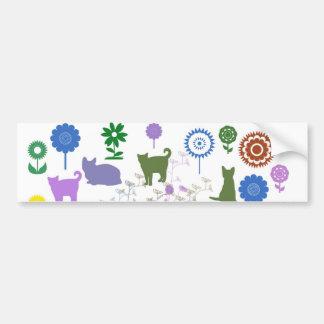Sunflower and cat car bumper sticker