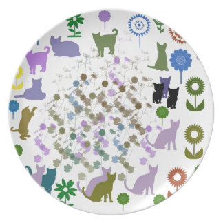 Sunflower and cat plate
