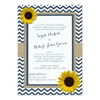 Sunflower and Chevron Navy Blue Rustic Wedding 5x7 Paper Invitation Card